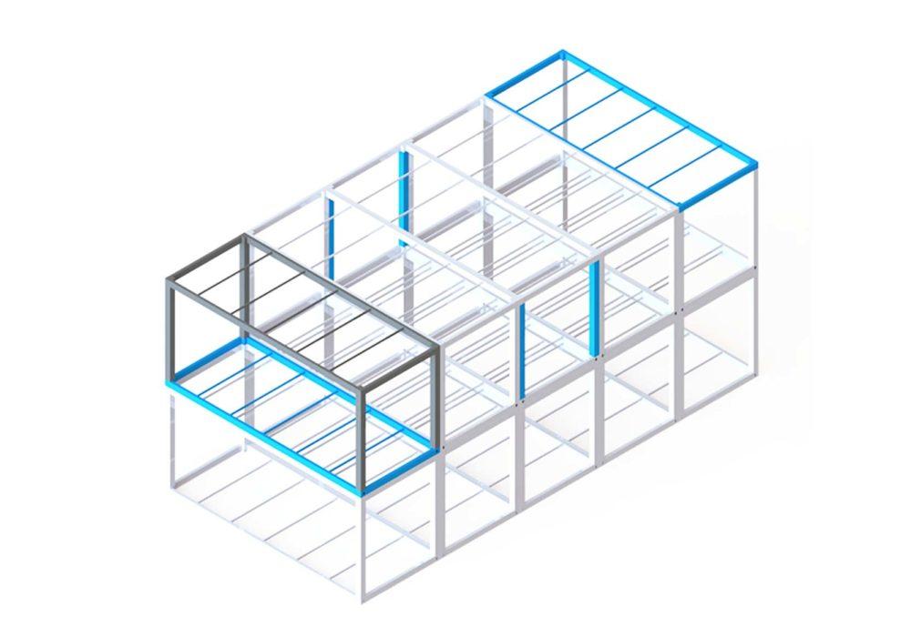 Agrupacion_módulos/estructura metálica/construcción industrializada