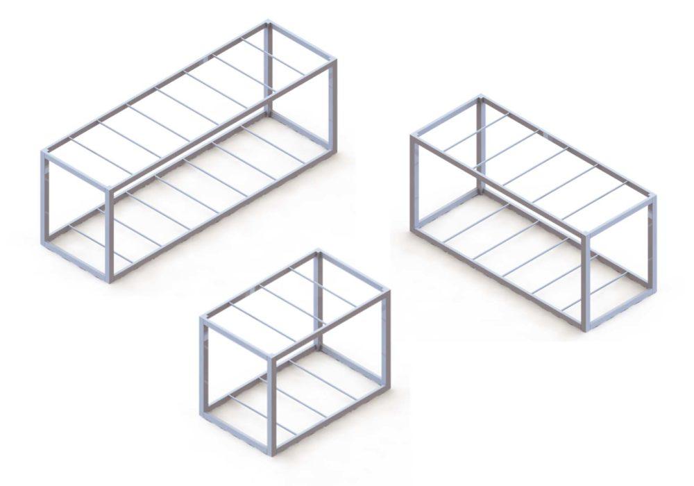 Módulos/dimensiones/estructura metálica/construcción industrializada
